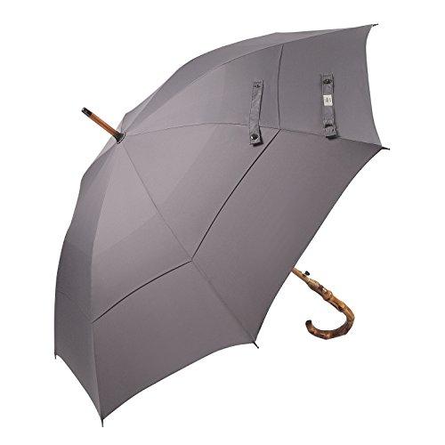 (Disegnato in Gran Bretagna) Bastone da passeggio-ombrello Balios in bambù Whangee  fatto a mano, antivento doppia calotta vetroresina, manico curvo, telo 300T qualità superiore, GRIGIO metallico
