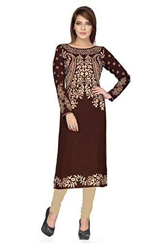 Salwar Studio Women's Brown & Beige Synthetic Floral, Polka Dots Printed Unstitched Kurti Fabric (only Kurti Fabric)  available at amazon for Rs.395