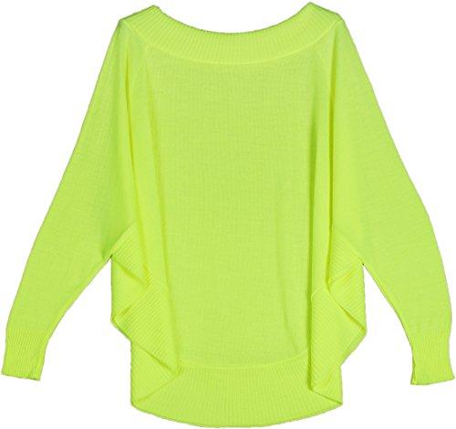 Mikos Damen Frauen Poncho Mit Ärmeln Leicht Strick Weich Elegant Lässig Frühling Cape Pullover (674) (Neon Gelb)