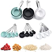 SIMPLY CHEF Measuring Cup Set 8 pcs| Measuring Spoon and Measuring Cup for Baking |Color Sky Blue & Charco