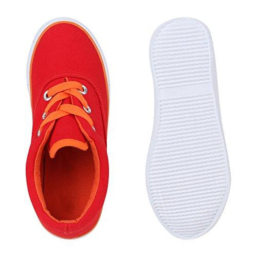 Kinder Sneakers Low Neon Turnschuhe Stoffschuhe Flats Rot