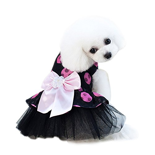 Besticktes Mesh-teddys (Pet Kleider,Haustier Hund Katze Bogen Polka Dot Mesh Rock,Sommer Süße Hund Blase Kleider,Mode Süß Lady Pet Dog Prinzessin Dress,für Kleine Hunde,Teddy,Pudel,Chihuahua (Pink, S))