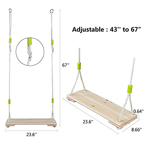 Eggdel Adult Super Big Wood Tree Hanging Swings Seat with 67'' Height Adjustable Nylon Rope Per Side