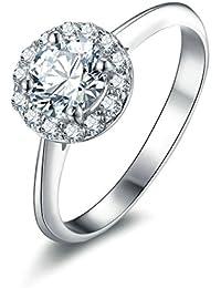 Beydodo 925 Silber Ring Verlobung Solitärring Rund Brillant Weiß Zirkonia  Verlobungsring Silber Partnerringe 484b82018e