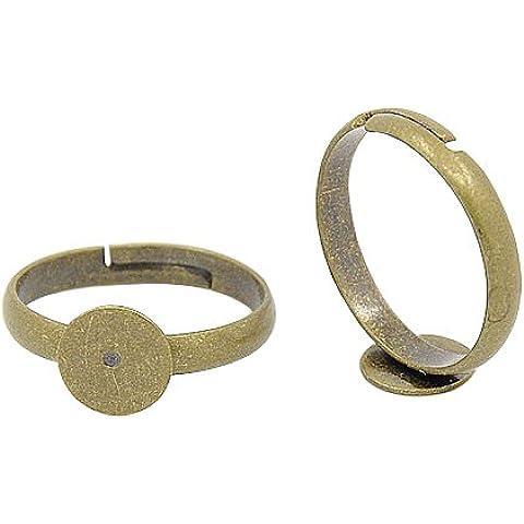 Bases ajustables de almohadilla del anillo de dedo de lat¨®n, el color de bronce antiguo, sin plomo, sin cadmio y sin n¨ªquel, Anillo: acerca 3 mm espesor, 17 mm de di¨¢metro interior, bandeja redonda: 8 mm di¨¢metro