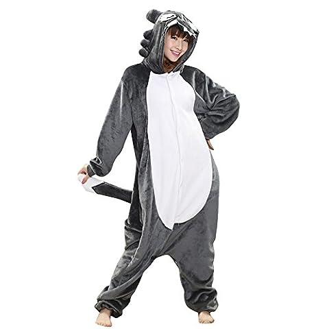 Babyonline® Jumpsuit Tier Cartoon Fasching Halloween Kostüm Sleepsuit Cosplay Fleece-Overall Pyjama Schlafanzug Erwachsene Unisex Kigurumi Tier Onesize