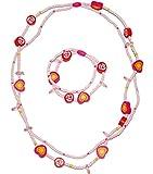 alles-meine.de GmbH 6 TLG. Set _ 3 Ketten + 3 Armbänder -  Blumen, Blüten & Herzen - bunt  - aus Holz - Schmuck / Perlenkette - Bunte Holzperlen / Perlen - Kinderschmuck - Hals..