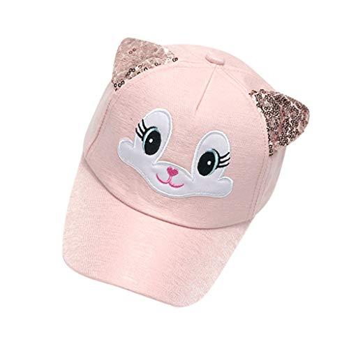 Wascoo_Enfant Enfant chat oreilles casquette fille de baseball paillettes créatifs mignons dessin animé broderie parasol casquette cap (1-4 ans)