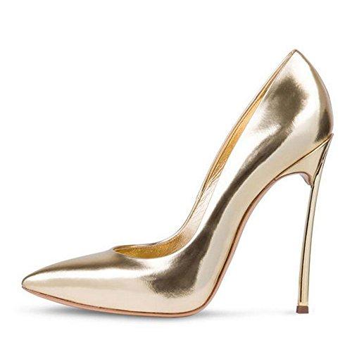 Damen Große Größe Pumps Spitze Zehen High-Heels Stiletto Rutsch Hochzeit Party Glas-Gold EU44