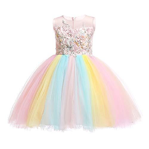 OBEEII Mädchen Einhorn Kostüm Weihnachten Allerheilige Karneval Geburtstag Geschenk Baby Kinder Prinzessin Kleid Rosa 13-14 Jahre