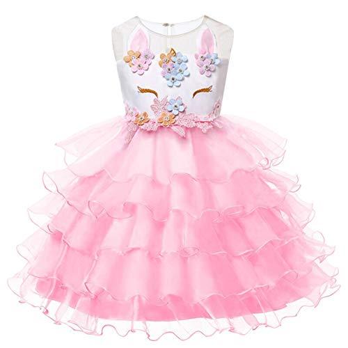 Mädchen Einhorn Blume Kleid Cosplay Hochzeit Geburtstagsfeier Party Kostüm Prinzessin Kleider für ()