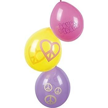 Générique 6 Ballons Hippie Flower Power 25 cm
