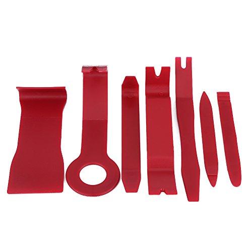 Car Trim-Entfernung, 7 Stücke Auto Auto Interior Exterior Dash Moulding Trim Trimmwerkzeug zum Entfernen Audio Türverkleidung Offene Werkzeuge zum Entfernen(Red) -