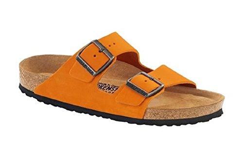 Birkenstock Arizona 252743, Unisex - Erwachsene Clogs & Pantoletten aus Birko-Flor Orange Nubuck