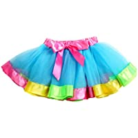 FENICAL Niñas Arco Iris de Color Malla Falda de Tutú Decoración de Arco Niños Falda de Baile Kids Performance Skirt (M)