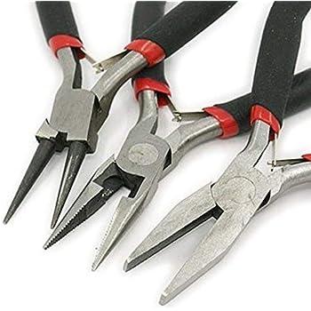 Bacabella 21510 Zangen Set 4in1 schwarz Schmuck Herstellung: Rundzange + Flachzange + Knipser (3 Stück)