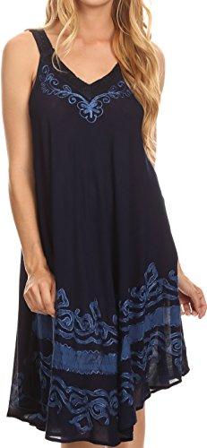 Sakkas 16605 - Gasha Ärmelloses Mid Length Kaftan Kleid mit Stickerei Details und V Neck - Navy Blue - OS (Stickerei Kaftan Mit)