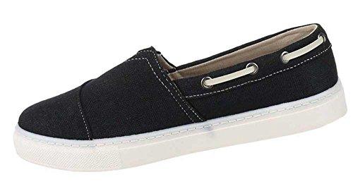 Herren-Schuhe Slipper | schicke Halbschuhe mit Schnürung in verschiedenen Farben und Größen | Schuhcity24 | Slipper aus Canvas Schwarz