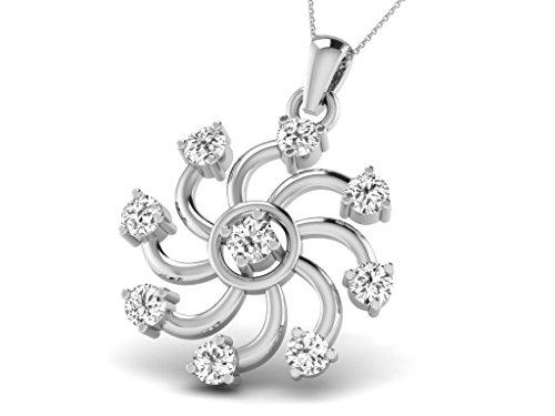 Or Blanc 9 ct Pendentifs Diamant en forme de Fleur, 0.21 Ct Diamant, GH-SI, 0.59 grammes.