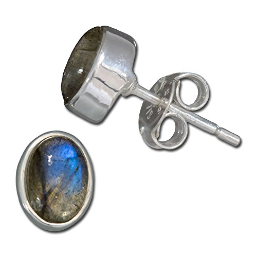 I-be, Labradorit Edelstein 6x8 mm Ohrstecker oval, 925 Silber, im Geschenketui, 352812/6x8