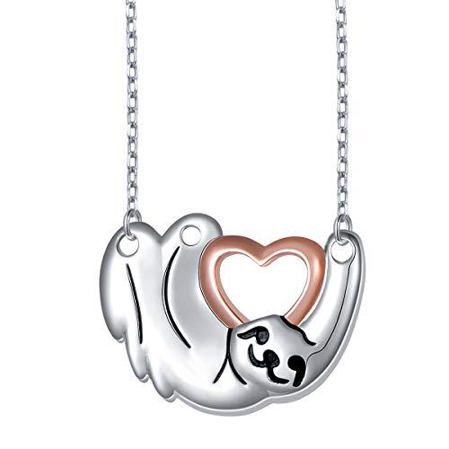 DAOCHONG Sterling Silber Niedlichen Tier Sloth Charm Anhänger Halskette für Frauen ()