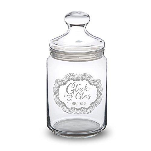 Casa Vivente Bonboniere mit Gravur - Glück im Glas - Personalisiert mit Namen - Bonbonglas mit Deckel - Vorratsglas für Süßigkeiten - Hochzeitsgeschenke für Brautpaar - Valentinstagsgeschenk