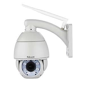 Sricam Caméra IP de sécurité Dôme Sans fil Zoom optique 5x HD 720P 2.8-12mm objectif WebCaméra IR-Cut Wifi Vision Nocturne P2P technologie ONVIF Pan Tilt Enregistrement carte SD