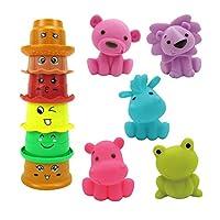11 قطعة 7.5 سم × 7.3 سم ألعاب حمام على شكل حيوان للأطفال كومة وقت الاستحمام ألعاب ممتعة بخاخ ألعاب حوض الاستحمام لعبة المياه للأطفال