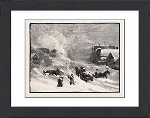 Framed Print Of A Blizzard In Winnipeg, Canada, Nineteenth Century Engraving