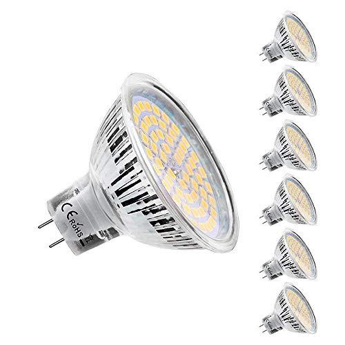 KDP Ampoules LED MR16 GU5.3 12V, Blanc Chaud 2800K, 5W Equivalent à 50W lampe halogène, 420LM, 120° Angle, Ampoules LED Spot Non Dimmable, Lot de 6