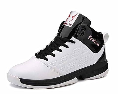 Hommes Respirant Basketball Baskets L'automne Hiver Haut Haut Formateurs Athlétique Chaussures ( Color : White , Size : 40 )