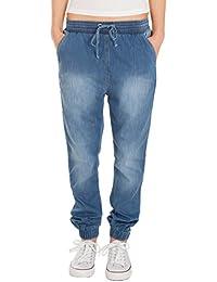 Fraternel Damen Stoffhose Jogg Jeans Pluderhose