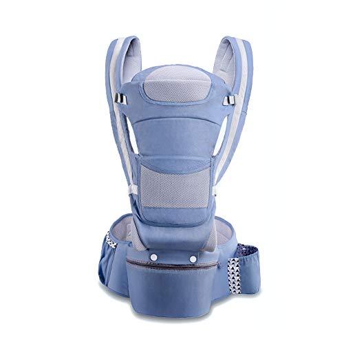 FH Vier Jahreszeiten Universal Baumwolle Babytrage, Babytrage Vorne Und Hinten, Babytrage Mit Hüftsitz - Geeignet Für 0-48 Monate Baby, Taille: 1.9-3.2 Fuß (Farbe : Dark blue)