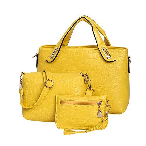 TianWlio Handtasche Damen Dreiteilige Teleskop Handtasche mit Krokoprägung und Muttertasche Gelb