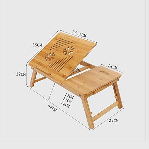 GAIQIN Dauerhaft Notebook-Kühlung Computertisch – Bambus-Klapptisch – Schreibtisch 64 * 35 * 22cm
