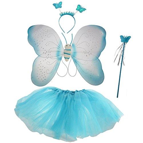 Weiße Kostüm Schmetterlingsflügel (Elfen Kostüm für Kinder in)