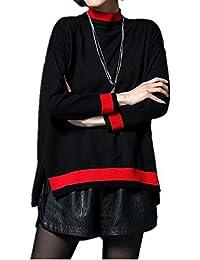 Dong Lady de manga larga jersey Loose Irregular Dobladillo rayas punto Camisa, negro, f