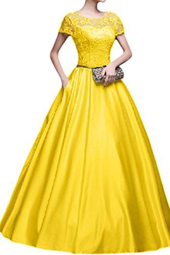 Promgirl House Damen Hochwertig Spitze Abendkleider Ballkleider Hochzeitskleider Lang Prinzessin mit Aermel Gelb
