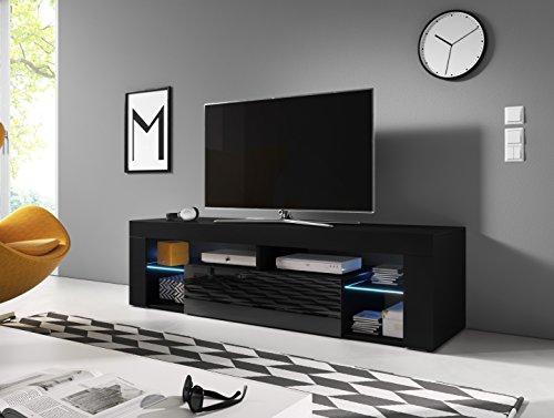 Everest mobile tv design nero opaco con nero lucido. illuminazione a