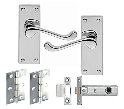 5 Sets Of Victorian Scroll Latch Door Handles Polished Chrome Hinges & Latches Pack Sets - inexpensive UK door handle shop.