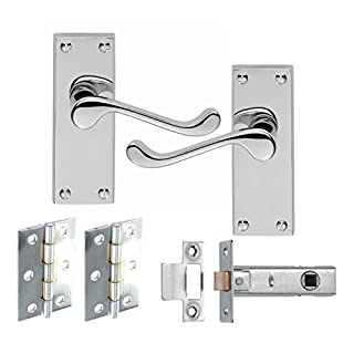 7 Sets Of Victorian Scroll Latch Door Handles Polished Chrome Hinges & Latches Pack Sets