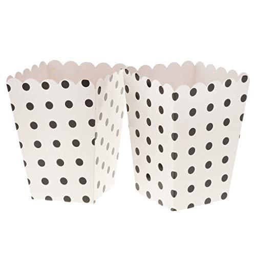 Fenteer 12x Papier Box Tüten Schachtel Tasche für Popcorn Snack und Süßigkeiten, Weiß und Schwarz