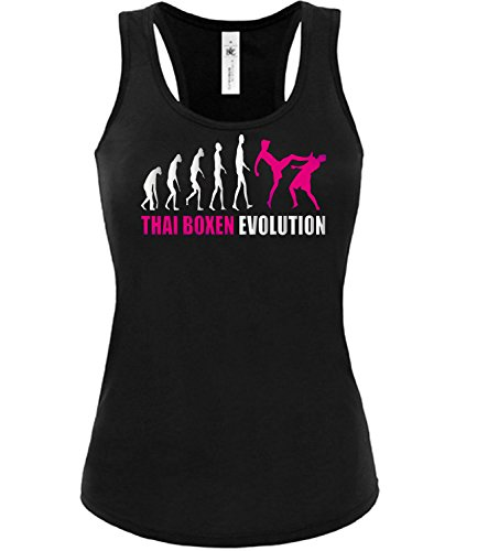 Thai Boxen Evolution 590 Kampfsport Frauen Damen Fun Tank Top Funshirt Tanktop Sportbekleidung Fanartikel Shop Shirt Tshirt Schwarz Aufdruck Pink S