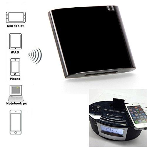 Bluetooth Musik Wireless Empfänger Adapter mit LED-Anzeige für Smartphones und Tablets Adapter für IPHONE / Samsung 30-Pin Dock Lautsprecher Boombox V2.1 A2DP - Schwarz (Dock-bluetooth-sender)