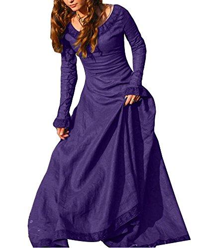 Frauen Vintage Mittelalter Kleid Cosplay Kostüm Langarm Kleid Prinzessin Gothic Kleid Übergröße Kleid Violett 3XL