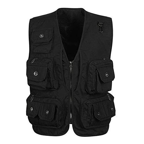 Men Fishing Vests Quick Dry Multi Pocket Mesh Hunting Shooting Jackets Photography Outdoor Sport Hiking Vest Black L Mesh-shooting Vest