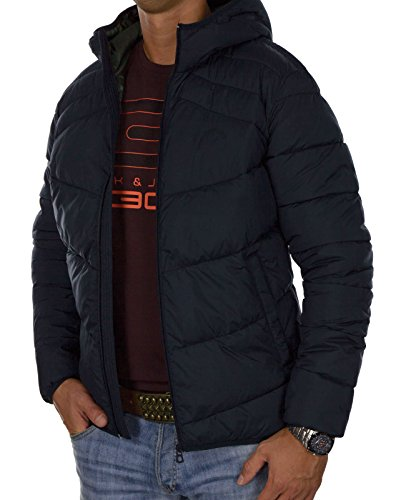 JACK & JONES Herren Winterjacke jorBOMB Steppjacke Outdoorjacke Pufferjacke Kunstdaunen Leicht Warm Kapuze Hood Futter Blau (Total Eclipse Fit:ONE jorLANDING)
