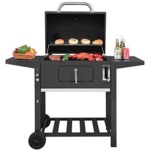 WYX Trolley BBQ Grill, Holzkohlegrill mit 2 Beistelltischständer, Verstellbarer Grill und Temperaturanzeige - Portable Patio American Style Grill und Raucher - American Grill
