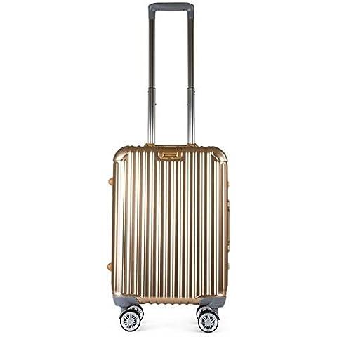 Valigia Trolley Leggera Bagagli a Mano Valigia Rigida in Lega di Magnesio e Alluminio con 4 Ruote 360° Argento Oro 20IN 24IN