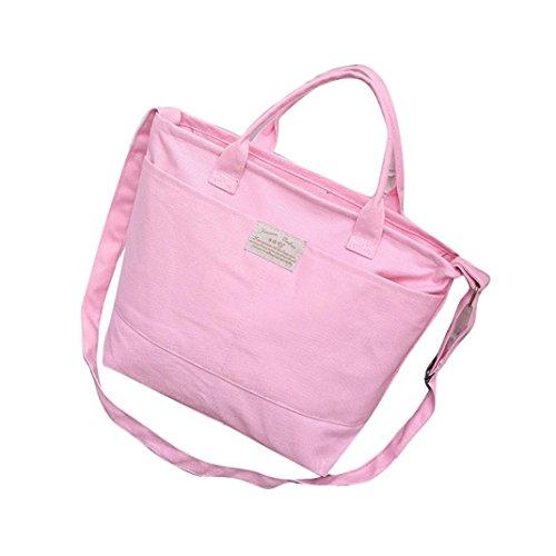 Transer Women Shoulder Bag Popular Girls Hand Bag Ladies Canvas Handbag, Borsa a spalla donna Black 37cm(L)*28(H)*11cm(W) Pink